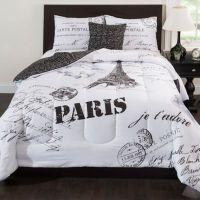 Buy Paris 4-Piece Reversible King Comforter Set in Black ...