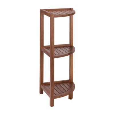 Stained Teak 3 Tier Corner Shelf In Brown Www