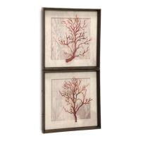 StyleCraft Red Corals Linen Framed Wall Art (Set of 2 ...