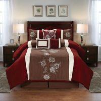 Floral 7-Piece Comforter Set in Burgundy/Brown - Bed Bath ...