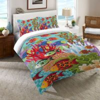 Buy Laural Home Fish in the Hood Twin Comforter in Teal ...