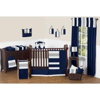 Sweet Jojo Designs Navy and Grey Stripe Crib Bedding ...