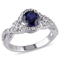 Modern Bride Gemstone Womens Lab Created Blue Sapphire ...