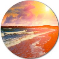 Design Art Desert Beach at Sunset Beach Metal Circle Wall ...