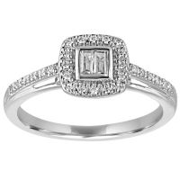 I Said Yes Womens 1/5 CT TW Baguette White Diamond ...