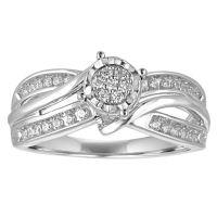 I Said Yes Womens 1/4 CT TW Round White Diamond Platinaire ...