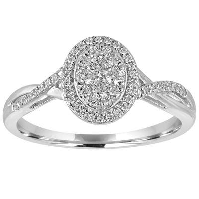 I Said Yes Womens 3/8 CT TW Round White Diamond Platinaire