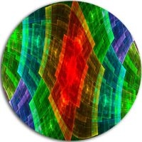 Designart Colorful Psychedelic Fractal Metal GridAbstract ...