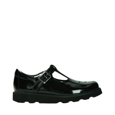 Black Patent School Shoes T Bar Clarks
