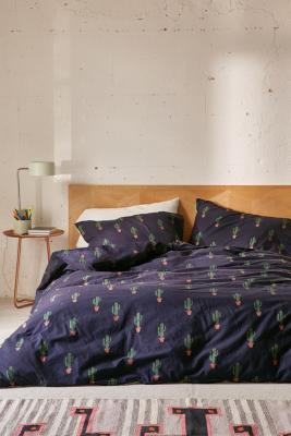 Urban Outfitters Bettwäsche Blue Cactus Print Duvet Cover Set