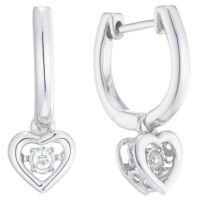 Diamonds in Rhythm Silver Diamond Heart Drop Earrings ...