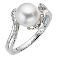 9ct white gold diamond & cultured freshwater pearl ring ...