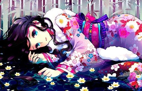 Anime Wallpaper Girls Hair Blonde Eyes Purple Anime Anime Girl Art Flowers Image 677753 On Favim Com