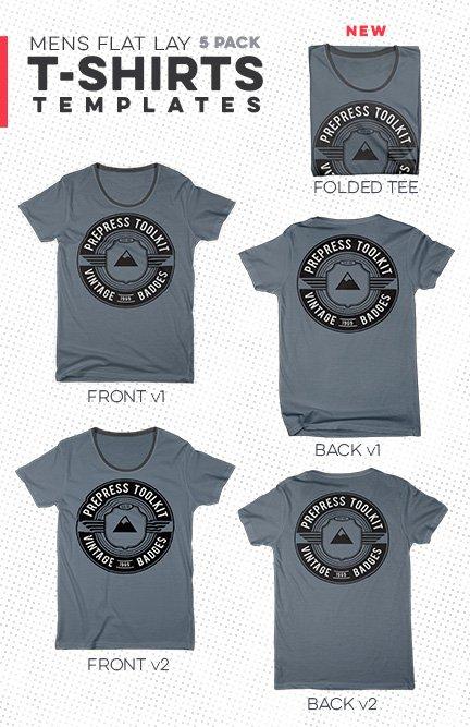Men\u0027s T-Shirt Flat Lay Template Pack