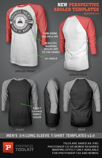 Ghosted 3/4 Long Sleeved T-Shirt Design Template PSD