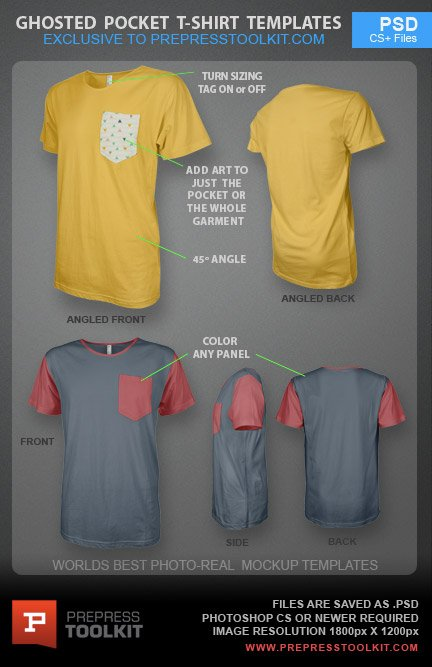 Ghosted Pocket T-Shirt Design Template PSD - pocket t shirt template