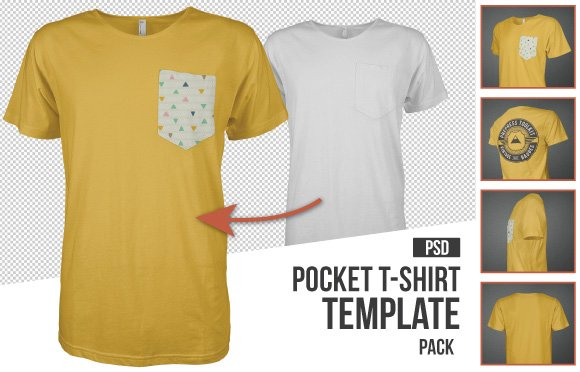 10+ Must Have Mockup Templates for T-Shirt and Apparel Design - pocket t shirt template