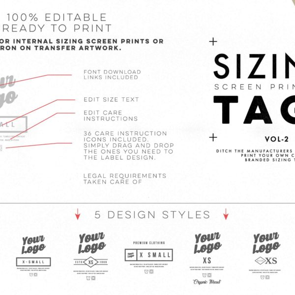 Screen Print Apparel Sizing Tag Templates - VOL2