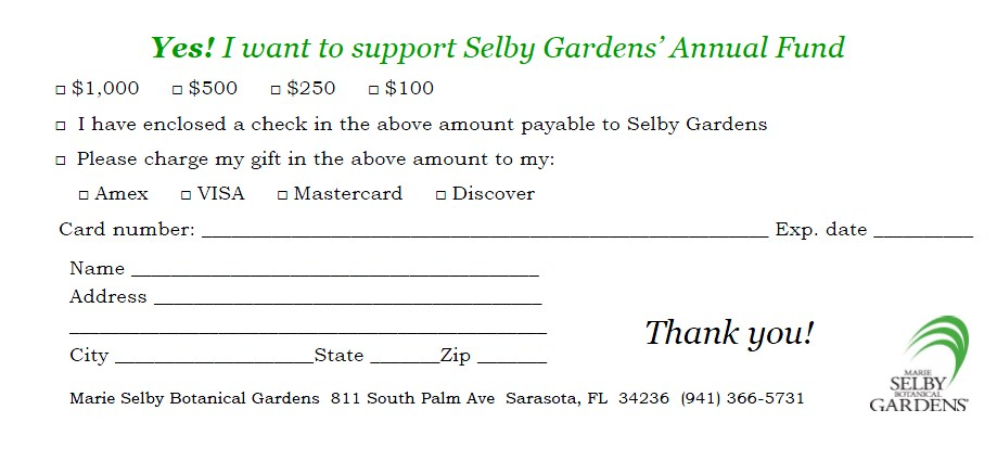 Donations - Marie Selby Botanical Gardens - Donation Form Templates