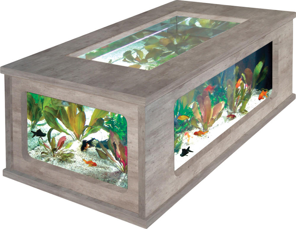 Couchtisch Mit Aquarium Table Basse Aquarium Imitation Béton Ciré 100x63x5