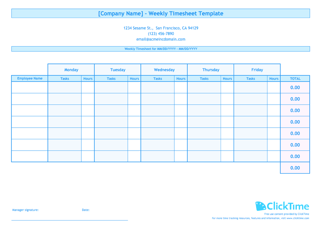 multiple employee timesheet template
