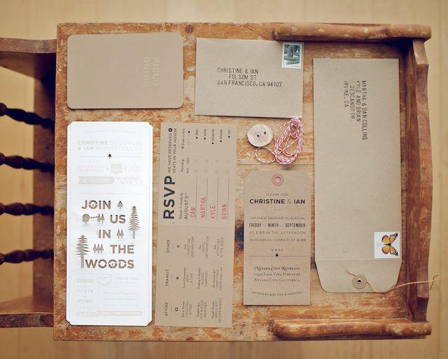 Woodsy Rustic Style Wedding Invitation - Rustic Wedding Chic