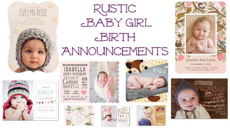 Rustic Baby Girl Birth Announcements - Rustic Baby Chic - Baby Girl Birth Announcements