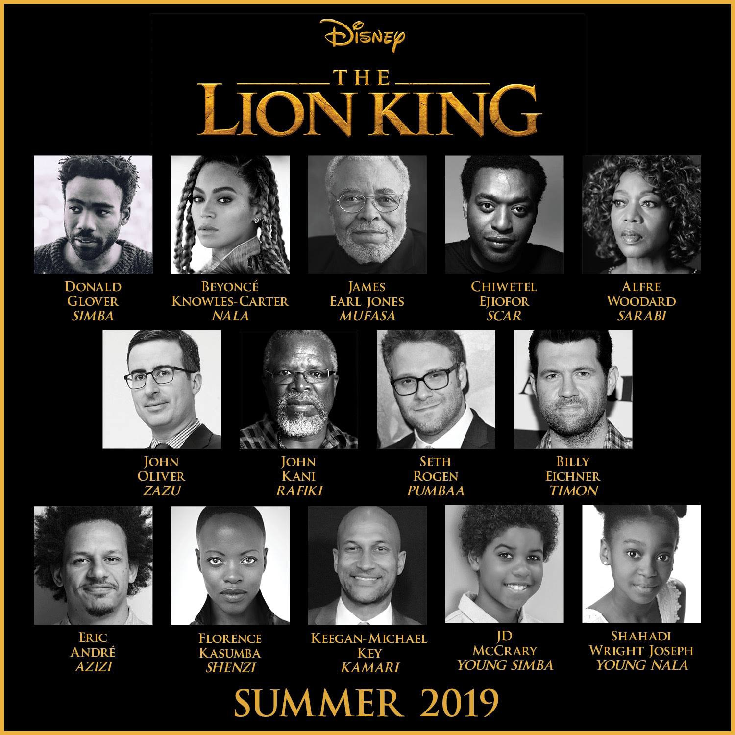 names of the characters in the lion king movie