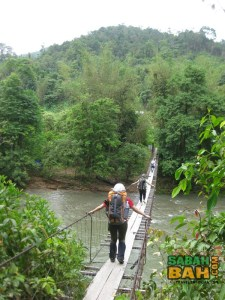 One of the hanging bridge crossings on the Salt Trail jungle trekking
