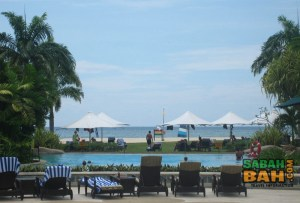 View of the beach and pool at Shangri-La's Rasa Ria Resort