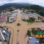 An unatributed picture widely circulated on social media depicting the flooded town of Donggongon, Penampang on the outskirts of Kota Kinabalu