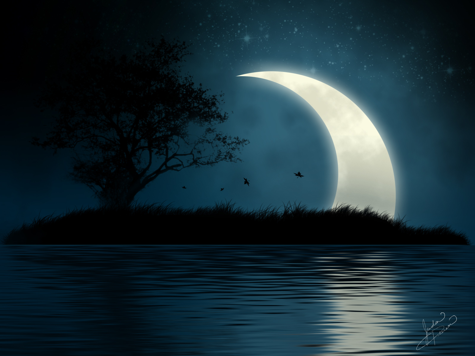 Crescent Moon Desktop Wallpaper