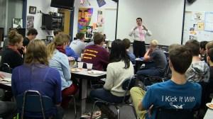 Lance Allan Talking with Saber Roar Students 1