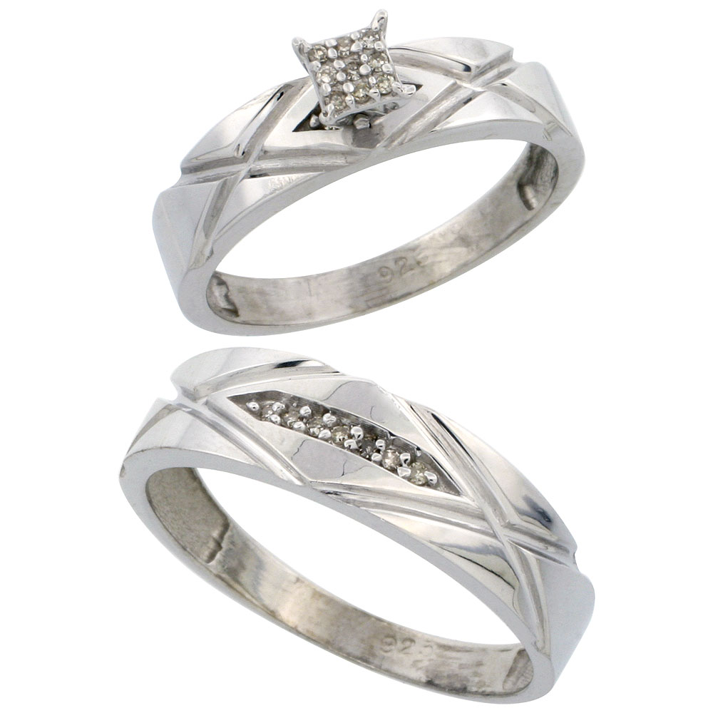 home silver diamond wedding rings Sterling Silver 2 Piece Diamond wedding Engagement Ring Set for Him and Her Rhodium finish