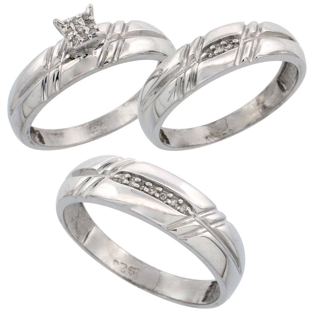 home cheap wedding rings sets Sterling Silver Diamond Trio Wedding Ring Set His 6mm Hers 5 5mm Rhodium finish