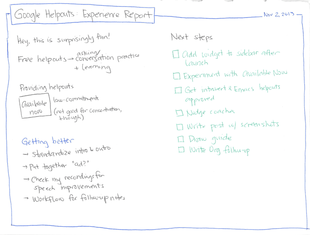 2013-11-02 Google Helpouts Experience Report
