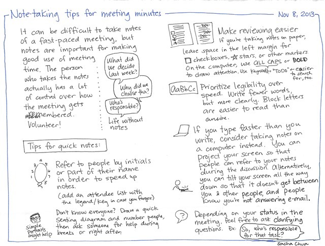 2013-11-08 Note-taking tips for meeting minutes