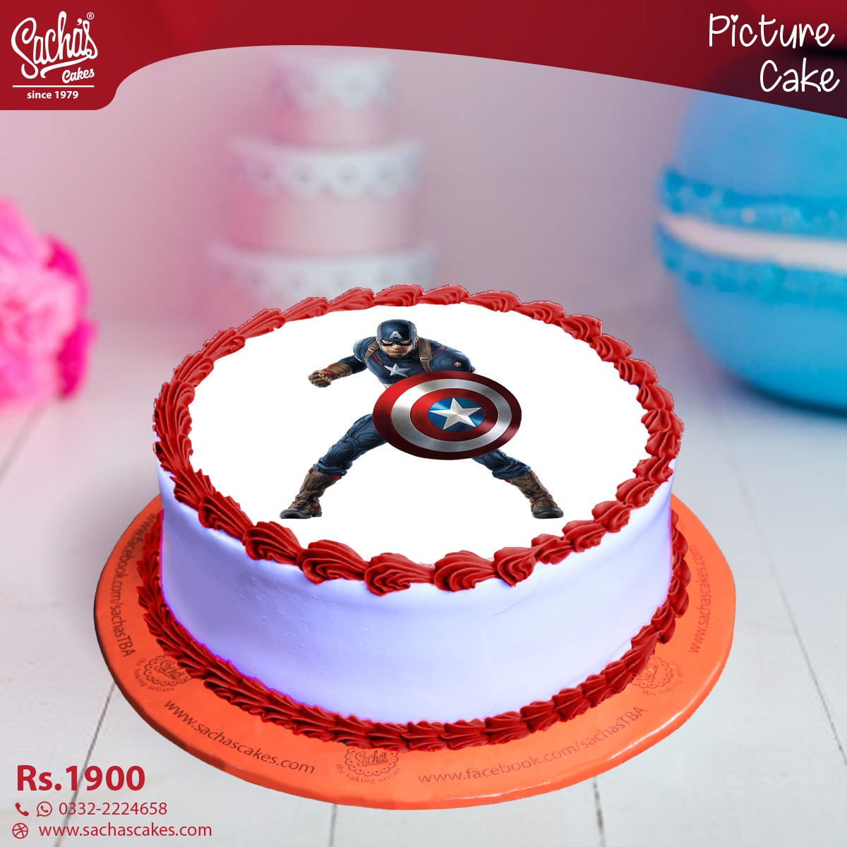 Captain America Kuchen Captain America Picture Cake Delivery Order Captain America Picture Cake In Karachi
