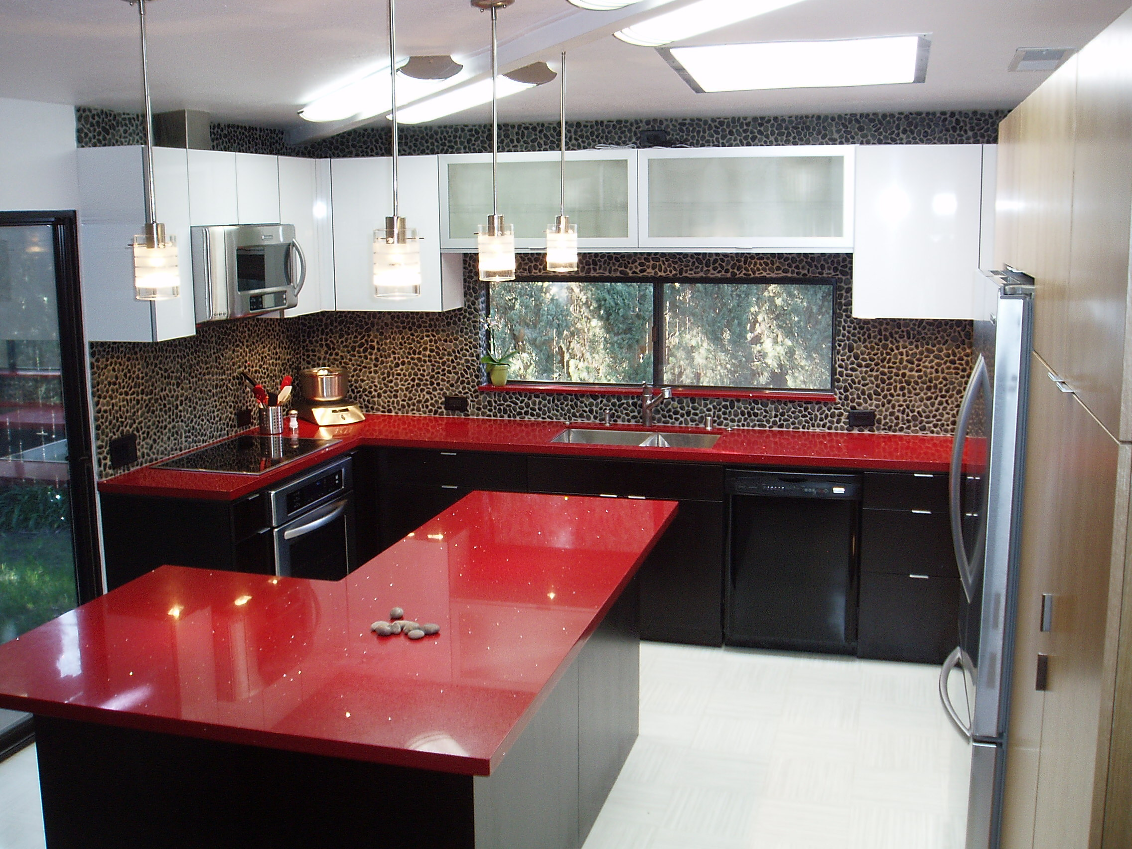 Black Recycled Glass Countertops Kitchen Remodel Sacramento Afreakatheart