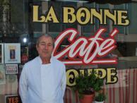 Daniel Pont in front of La Bonne Soupe Cafe.