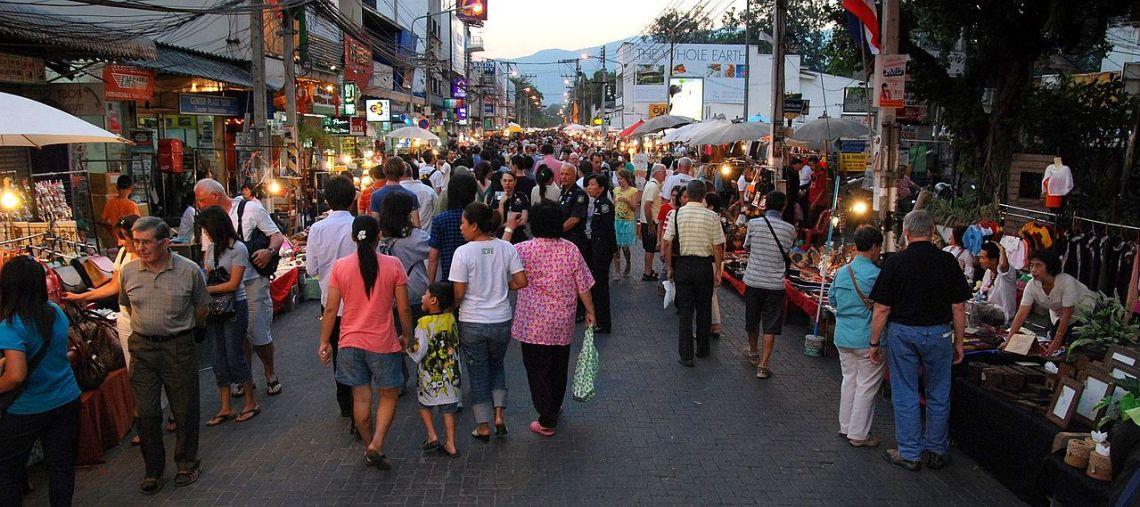 Sunday Walking Street, Chiang Mai, image courtesy Takeaway, via Wikimedia Commons.