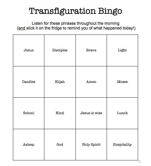 A bingo sheet can be a good way to help kids (and adults!) focus on the whole church service or sermon. Download an adaptable document at Sacraparental.com or make your own.