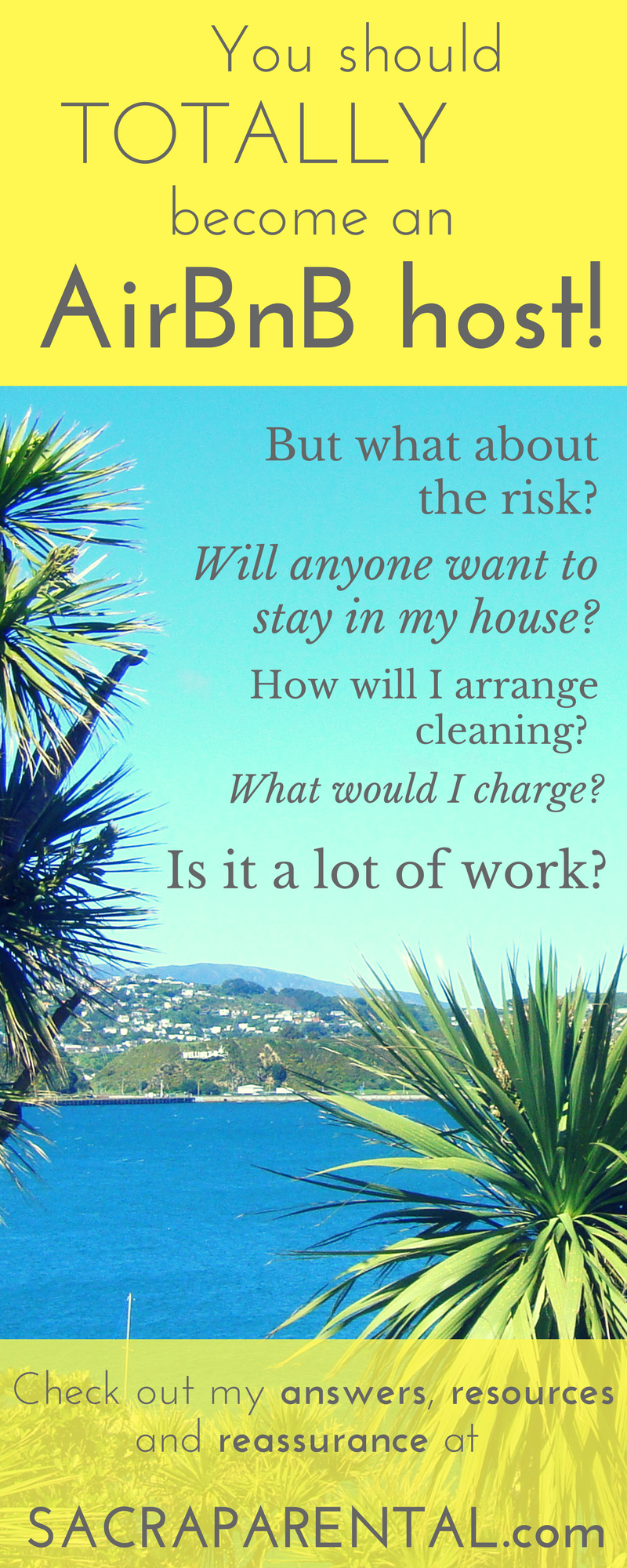HOW and Why to let your house out with AirBnB whenever you're not at home. But what about the risk? Will anyone want to stay in my home? How will I arrange cleaning? What should I charge? Is it a lot of work? Answers, tips and reassurance at Sacraparental.com!
