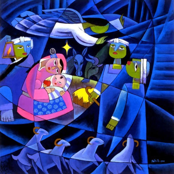 So much to think about in this painting of the Nativity, by He Qi. Join the conversation at Sacaraparental.com