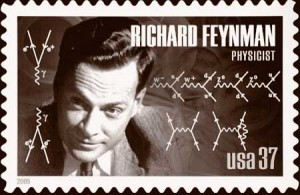 "The iconic 20th century physicist Richard Feynman invented a method for calculating probabilities of particle interactions using depictions of all the different ways an interaction could occur. Examples of ""Feynman diagrams"" were included on a 2005 postage stamp honoring Feynman. US Postal Service"