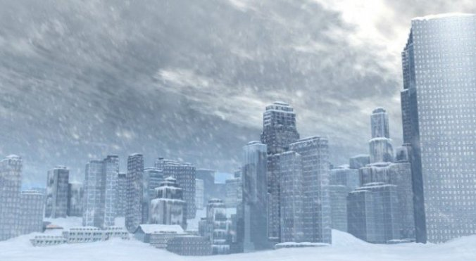 Ice age modern city