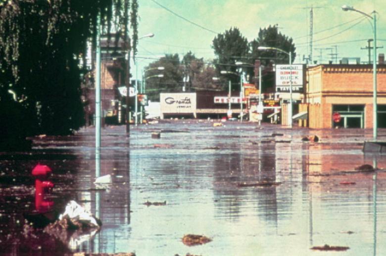 downtown, rexburg, flood, teton, dam,