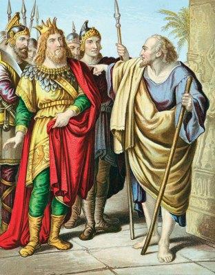 Elijah rebukes Ahab for turning from worshiping Jehova to Baal.
