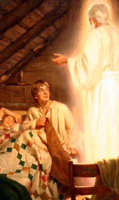 Moroni appears to Joseph Smith. He quotes Malachi's prophecy regarding Elijah's return, but with variations in the wording.