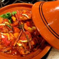 Spicy Chicken Tagine with apricots, rosemary, ginger and harissa